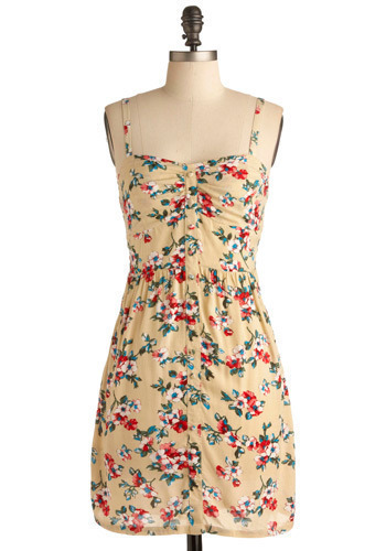 A-floral-able Dress - Yellow, Multi, Red, Green, Blue, White, Floral, Buttons, Casual, Spaghetti Straps, Spring, Summer, Mid-length