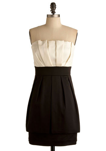 Take a Cue Dress by Max and Cleo - Black, White, Solid, Pleats, Formal, Prom, Wedding, Party, Vintage Inspired, Sheath / Shift, Strapless, Mid-length