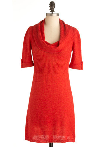 The Sweeter Sweater Dress - Red, Solid, Party, Work, Shift, 3/4 Sleeve, Short