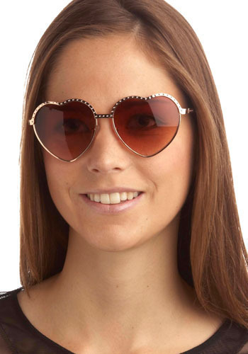 Love Alive Sunglasses - Gold, Rhinestones