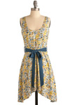 Dried Flowers Dress - Yellow, Blue, Multi, Floral, Bows, Casual, A-line, Sleeveless, Spring, Summer, Mid-length