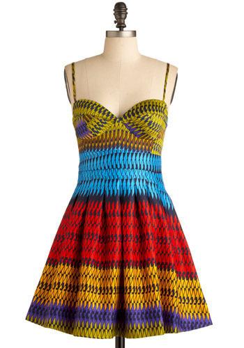 Bright Idea Dress - Multi, Red, Yellow, Green, Blue, Purple, Brown, Black, Pleats, Casual, A-line, Spaghetti Straps, Spring, Summer, Short