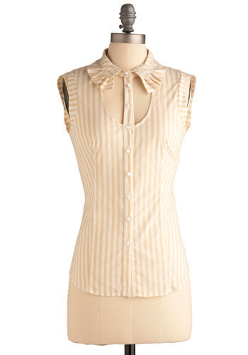 What's All the Placket Top - Tan, White, Stripes, Buttons, Cutout, Ruffles, Party, Work, Casual, Urban, Sleeveless, Mid-length