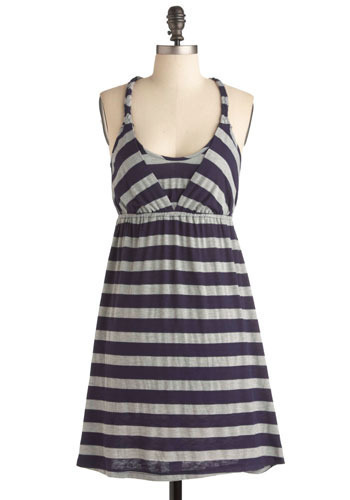 Ile de la Cité Dress - Blue, Grey, Stripes, Lace, Casual, A-line, Halter, Short
