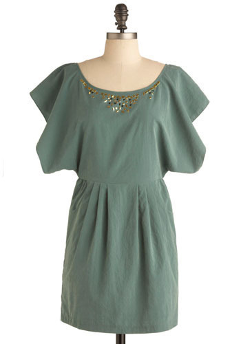 The Thyme is Now Dress - Green, Gold, Solid, Buttons, Lace, Pleats, Pockets, Studs, Special Occasion, Party, Work, Mini, Short Sleeves, Short
