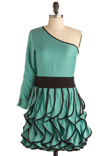 Water Nymph Dress - Green, Black, Ruffles, Casual, A-line, One Shoulder, Mid-length