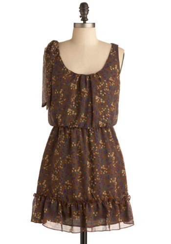 Farm Share Dress - Brown, Yellow, Green, Blue, Floral, Bows, Ruffles, Work, Casual, A-line, Sleeveless, Tank top (2 thick straps), Short, Press Placement