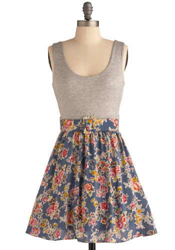 Perfumed Rose Dress - Blue, Pink, Grey, Multi, Floral, Buckles, Casual, A-line, Tank top (2 thick straps), Spring, Summer, Short