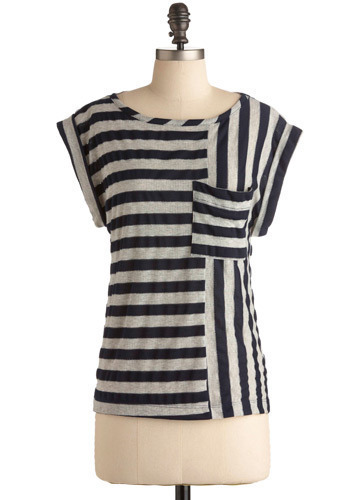 Giving Directions Top - Blue, Grey, Stripes, Pockets, Casual, Cap Sleeves, Mid-length
