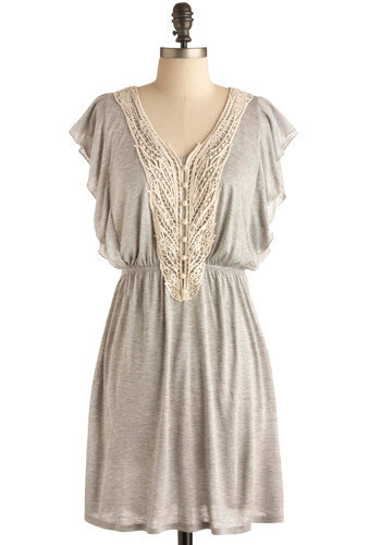 Back to Your Roots Dress - Grey, Tan / Cream, Pearls, Casual, A-line, Short Sleeves, Spring, Summer, Mid-length