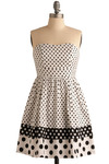 Ellipsis Dress - Black, White, Polka Dots, Wedding, Party, Work, A-line, Strapless, Mid-length