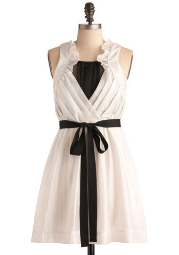 Meet in the Middle Dress - White, Black, Solid, Bows, Cutout, Exposed zipper, Pleats, Ruffles, Formal, Party, Work, Urban, A-line, Tank top (2 thick straps), Mid-length