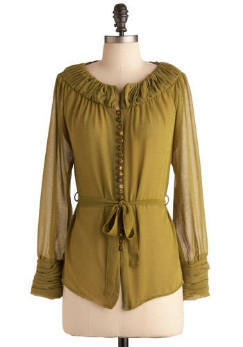 Call It a Char-truce Shirt by Nick & Mo - Green, Solid, Buttons, Casual, Long Sleeve, Bows, Ruffles, Party, Work, Mid-length