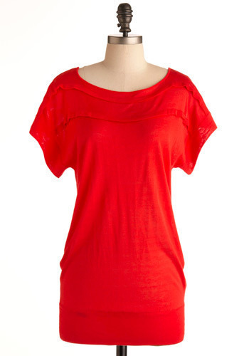 Campari Top - Red, Solid, Casual, Short Sleeves, Long