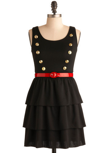 Brass Section Dress - Black, Red, Gold, Solid, Buttons, Casual, Tank top (2 thick straps), Ruffles, Party, Work, Nautical, Sleeveless, Short