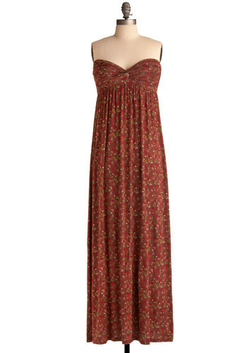 Love is Blind Dress - Brown, Multi, Red, Green, Pink, Floral, Casual, Boho, Empire, Maxi, Strapless, Long