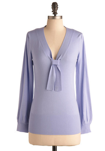 Poised and Ready Top - Purple, Solid, Bows, Casual, Long Sleeve, Mid-length
