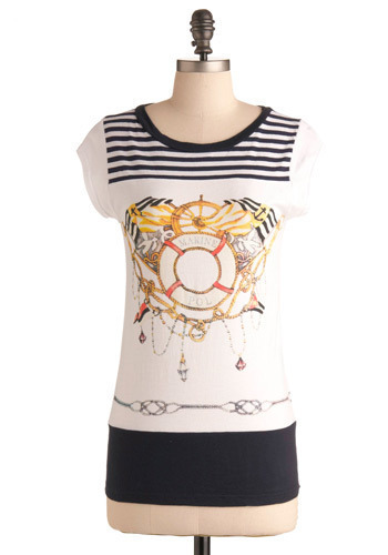 Get a Life Saver Top - White, Multi, Red, Yellow, Blue, Stripes, Casual, Nautical, Cap Sleeves, Spring, Summer, Mid-length