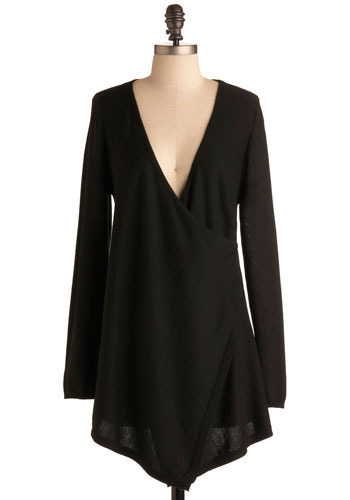 Shadow Play Cardigan in Opaque - Black, Solid, Casual, Long Sleeve