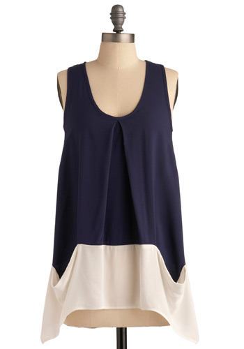 Day in the Life Top in Navy - Blue, White, Pockets, Casual, Tank top (2 thick straps), Long