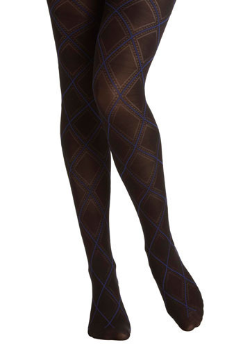 Double Black Diamond Tights - Black, Blue, White, Party, Work, Casual