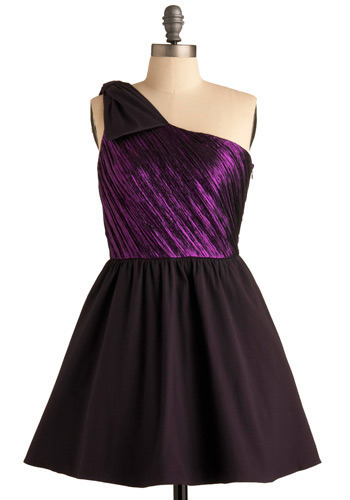 Sweet Jamz Dress in MC - Purple, Black, Formal, Prom, Wedding, Party, A-line, One Shoulder, Short