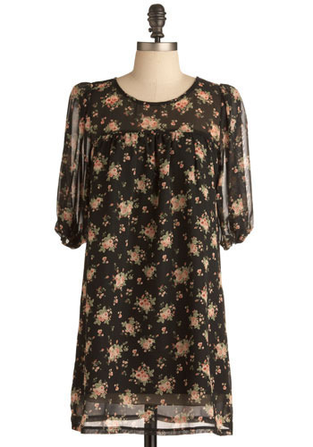Papermaking Party Dress - Black, Green, Pink, Floral, Casual, Sheath / Shift, 3/4 Sleeve, Spring, Summer, Short