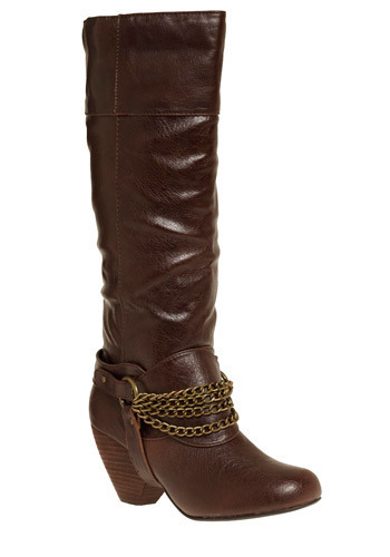From Zero to Sexy Boot - Brown, Gold, Solid, Chain, Work, Casual