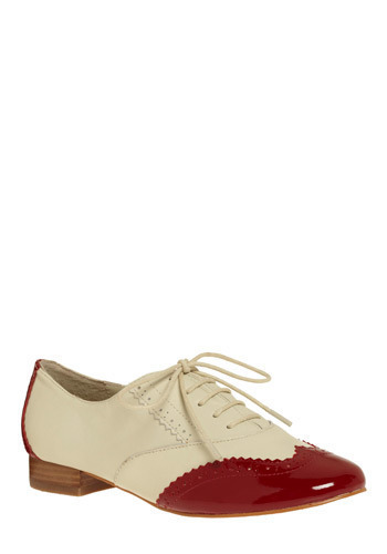 Candy Dipped Flat - Casual, Menswear Inspired, Cream, Red, Party, Vintage Inspired
