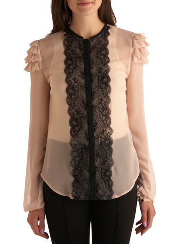 Crowning Achievement Top by BB Dakota - Pink, Black, Lace, Ruffles, Trim, Formal, Luxe, Urban, Long Sleeve, Press Placement, Mid-length