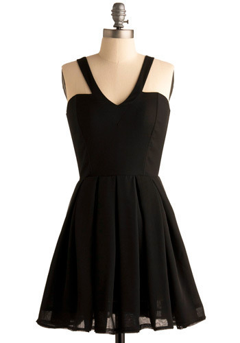 I Just Wanna Dance Dress by Jack by BB Dakota - Black, Solid, Buttons, Exposed zipper, Pleats, Special Occasion, Party, Vintage Inspired, A-line, Tank top (2 thick straps), Racerback, Short