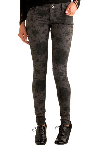 Coolest Girl in School Jeans by Jack by BB Dakota - Grey, Black, Floral, Pockets, Casual, Spring, Fall, Winter