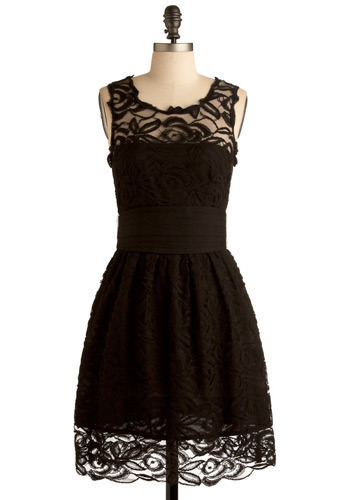 Lady Jane Dress by BB Dakota - Black, Floral, Lace, Wedding, Party, A-line, Sleeveless, Mid-length
