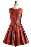 Classic Beauty Dress by BB Dakota - Red, Blue, Print, Pleats, Party, A-line, Sleeveless, Mid-length