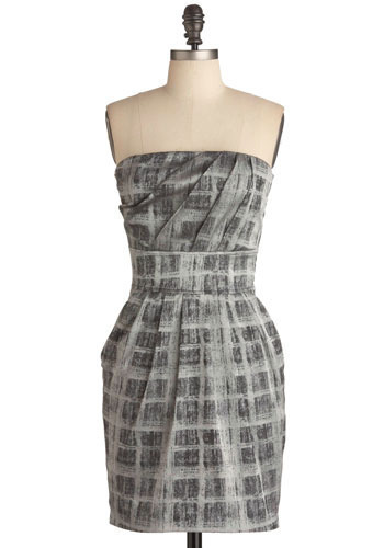 Rain on the Pavement Dress - Black, Silver, Pleats, Party, Casual, Urban, Empire, Mini, Shift, Strapless, Short