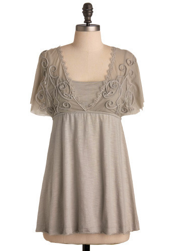 Fog Fairy Top - Grey, Solid, Embroidery, Lace, Casual, Empire, Short Sleeves, Mid-length