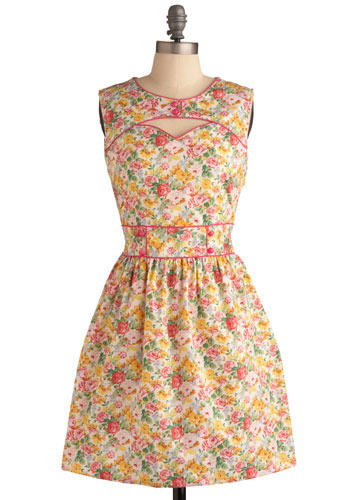 Pretty in Pastels Dress by Trollied Dolly - Yellow, Blue, Pink, Floral, Cutout, Casual, A-line, Sleeveless, Spring, Summer, Mid-length, International Designer