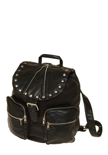 Rebel Without a Purse Backpack by Gentle Fawn - Black, Solid, Buckles, Exposed zipper, Pockets, Studs, Casual, Urban