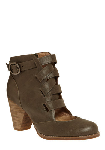 Strapped for Panache Boot - Brown, Grey, Solid, Buckles, Cutout, Work, Casual