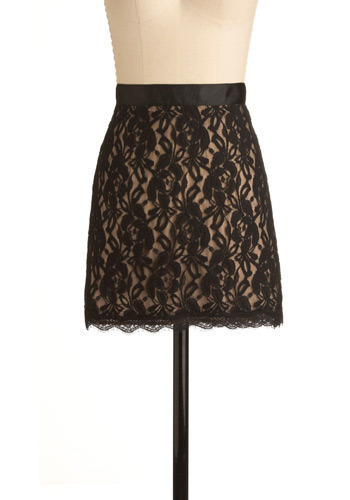 A Shade of Passion Skirt - Black, Tan / Cream, Floral, Lace, Trim, Party, Casual, Mini, Shift, Short
