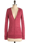 Regional Collection Cardigan in Report - Pink, Solid, Long Sleeve, Mid-length
