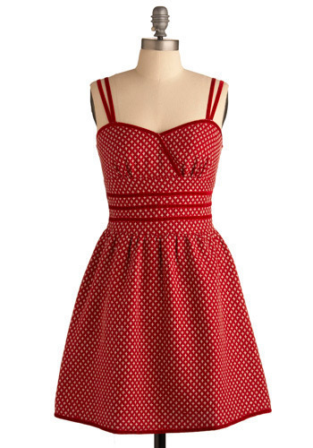 Red Garnet Glamour Dress - Red, White, Print, Casual, A-line, Spaghetti Straps, Spring, Summer, Mid-length