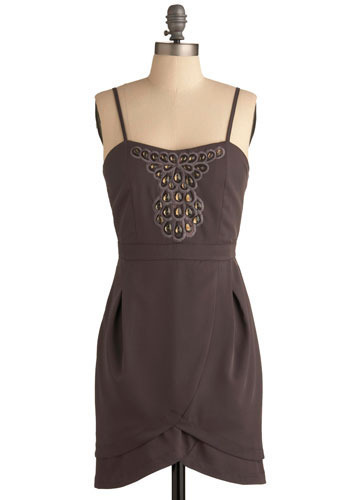 What a Gem Dress - Grey, Bronze, Solid, Embroidery, Rhinestones, Sequins, Casual, Spaghetti Straps, Short