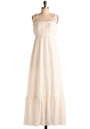 It's a Beautiful Day Dress - Long, White, Eyelet, Casual, 70s, Maxi, Spaghetti Straps, Solid, Spring, Boho