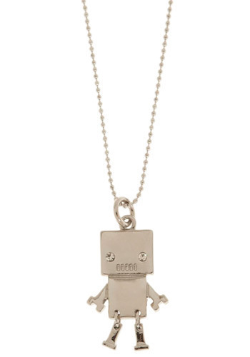 Friendly Robot Necklace - Cream, Casual