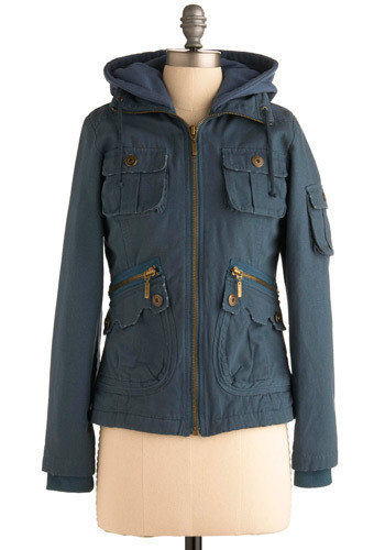 Forest for the Trees Jacket in Blue by BB Dakota - Blue, Solid, Exposed zipper, Pockets, Long Sleeve, Fall, Winter, Mid-length, 3