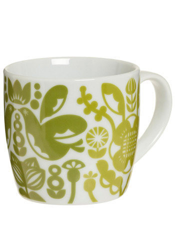 Cup O' Retro Kitchen Mug - Green, White, Vintage Inspired