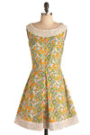 Get Acquainted Dress - Multi, Orange, Yellow, Green, Blue, Tan / Cream, Paisley, Cutout, Lace, Pleats, Special Occasion, Wedding, Party, A-line, Sleeveless, Spring, Summer, Short