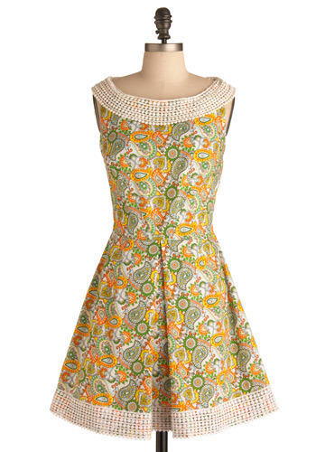 Get Acquainted Dress - Multi, Orange, Yellow, Green, Blue, Tan / Cream, Paisley, Cutout, Lace, Pleats, Formal, Wedding, Party, A-line, Sleeveless, Spring, Summer, Short