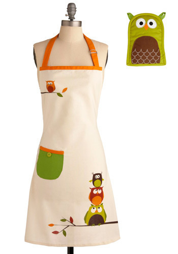 Owl Cook Dinner Apron and Mitt Set